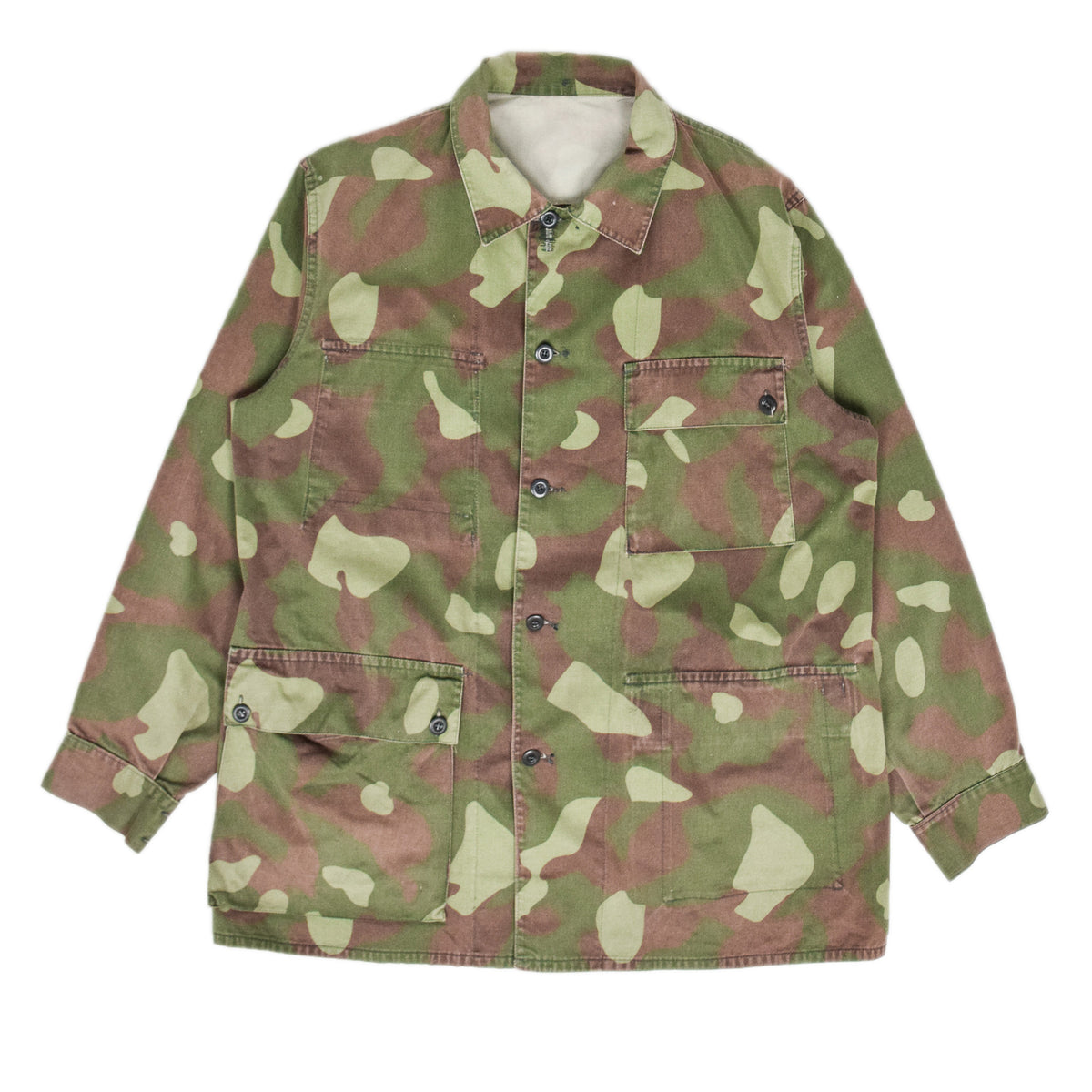 Vintage 80s Military Finnish Army Green Camo Mountain Field Jacket XL FRONT