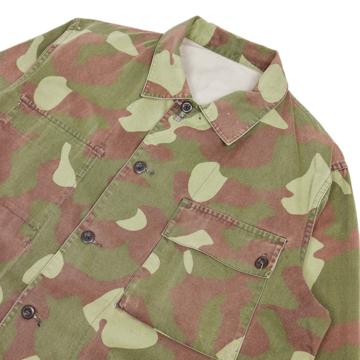 Vintage 80s Military Finnish Army Green Camo Mountain Field Jacket XL chest