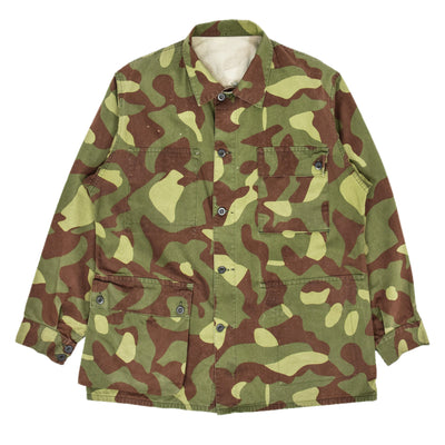 Vintage 90s Military Finnish Army Green Camo Mountain Field Jacket L / XL FRONT