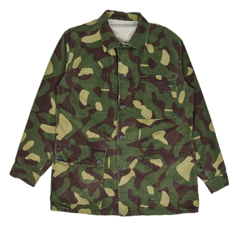 Vintage 80s Military Finnish Army Green Camo Mountain Field Jacket L front