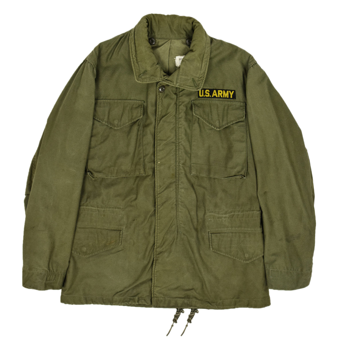 Vintage 60s Vietnam M-65 Man's Field Sateen 0G-107 Green US Army Coat S / M front
