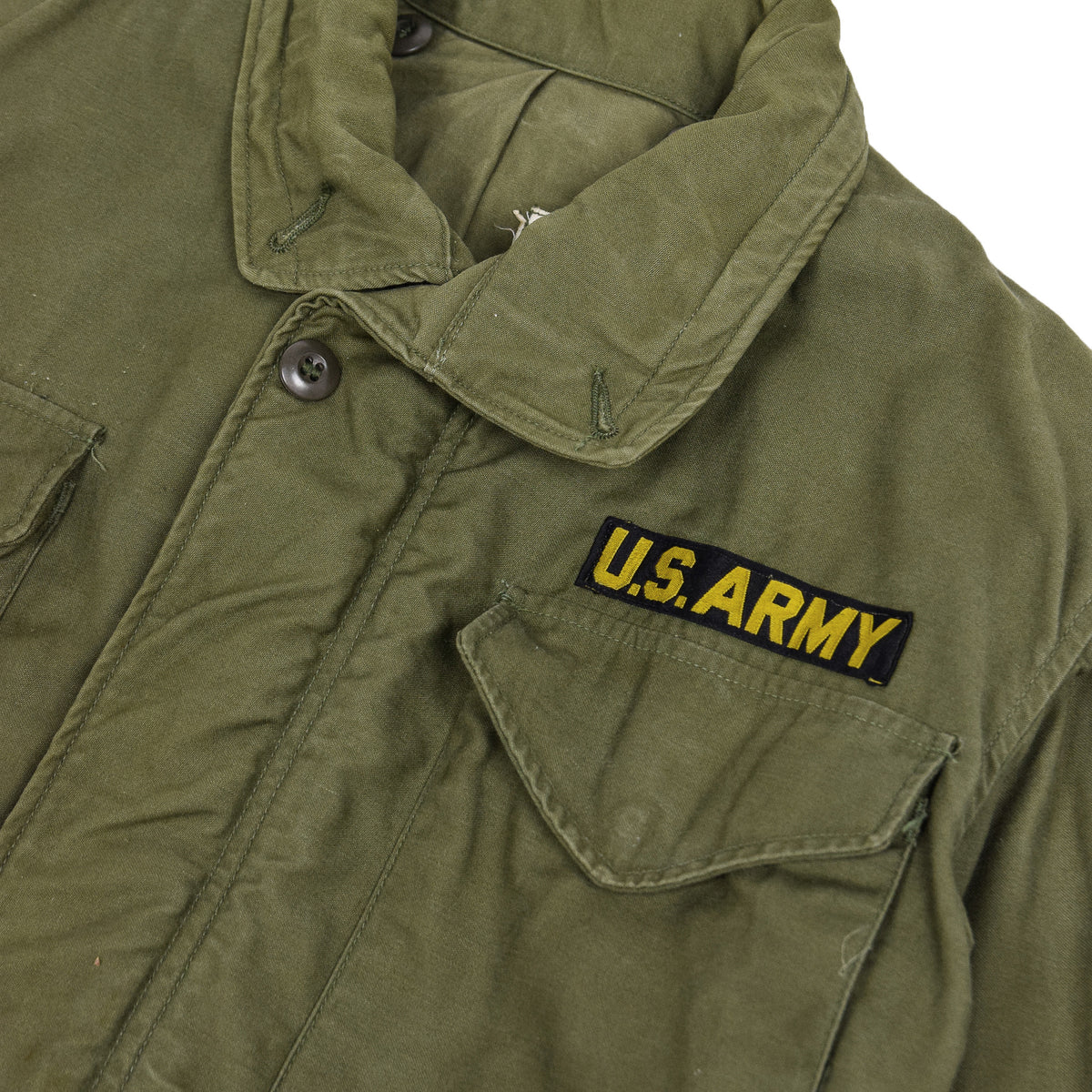 Vintage 60s Vietnam M-65 Man's Field Sateen 0G-107 Green US Army Coat S / M collar details