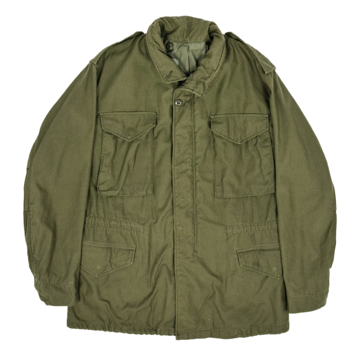 Vintage 80s M-65 Man's Field Cotton Sateen 0G-107 Green US Army Coat M front