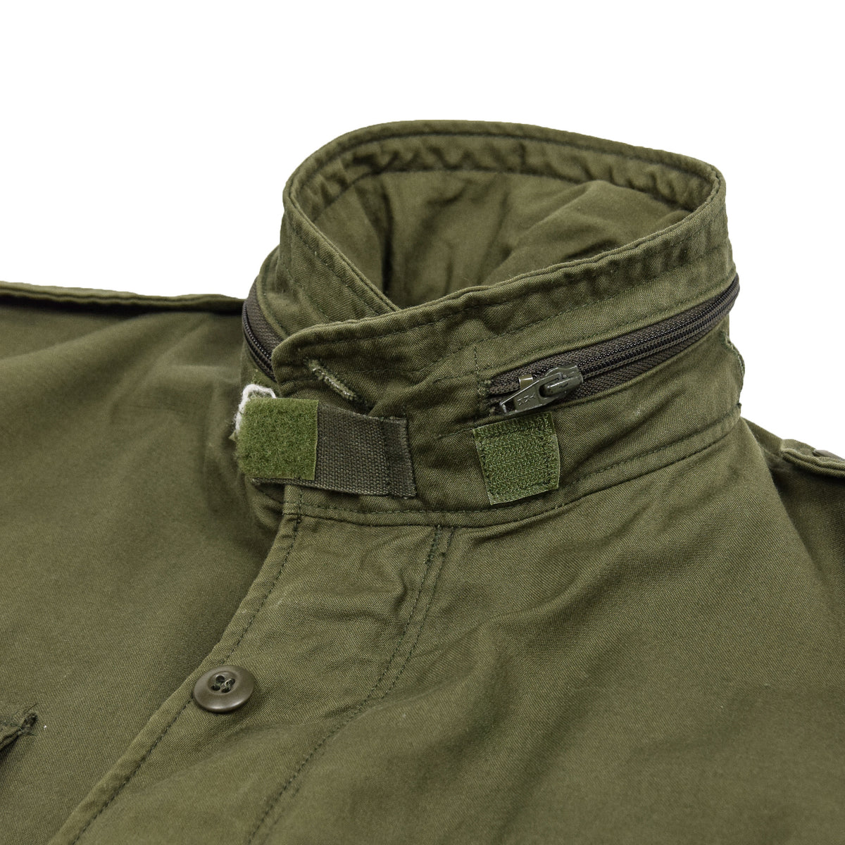Vintage 80s M-65 Man's Field Cotton Sateen 0G-107 Green US Army Coat M collar