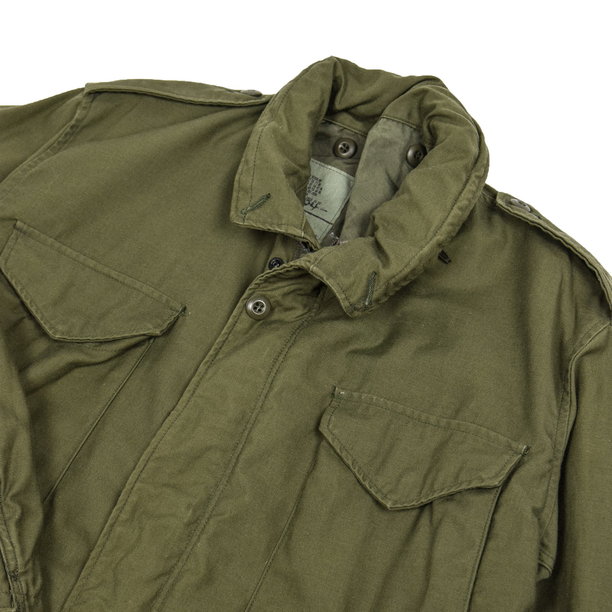 Vintage 80s M-65 Man's Field Cotton Sateen 0G-107 Green US Army Coat M collar details