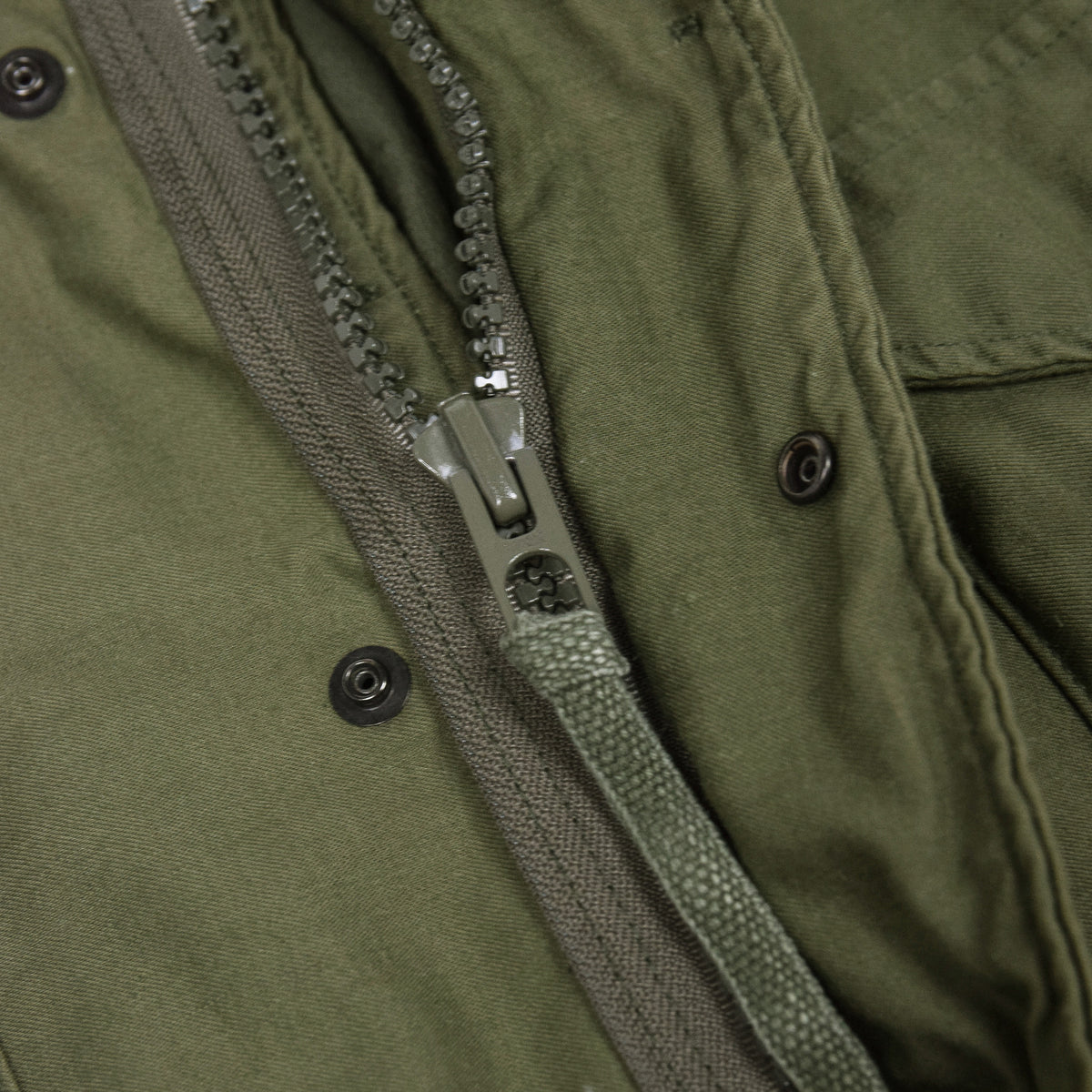 Vintage 80s M-65 Man's Field Cotton Sateen 0G-107 Green US Army Coat M zip