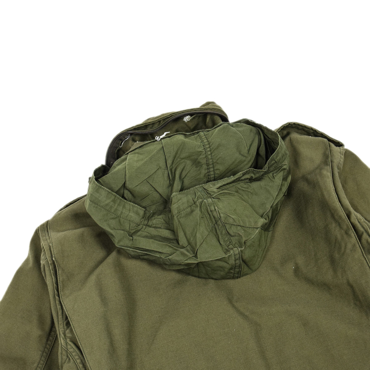 Vintage 80s M-65 Man's Field Cotton Sateen 0G-107 Green US Army Coat M hood