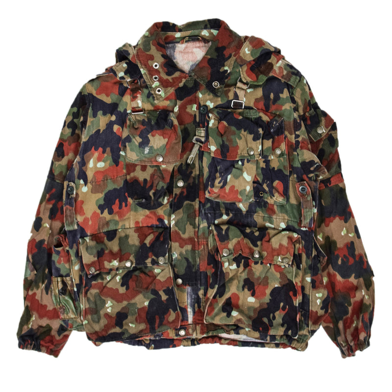 Vintage 70s Swiss Army Alpenflage Camo Sniper Combat Field Jacket M FRONT