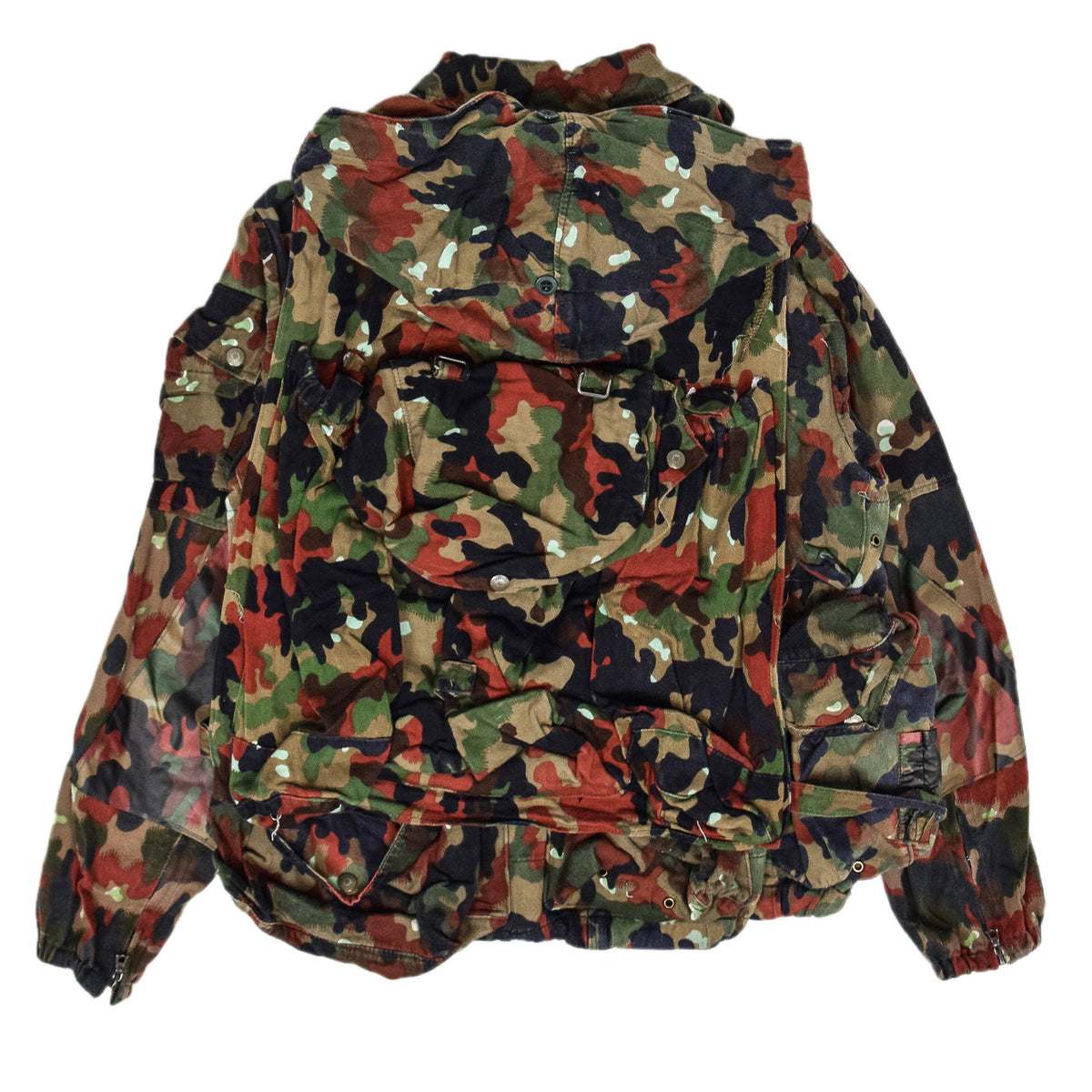 Vintage 70s Swiss Army Alpenflage Camo Sniper Combat Field Jacket BACK