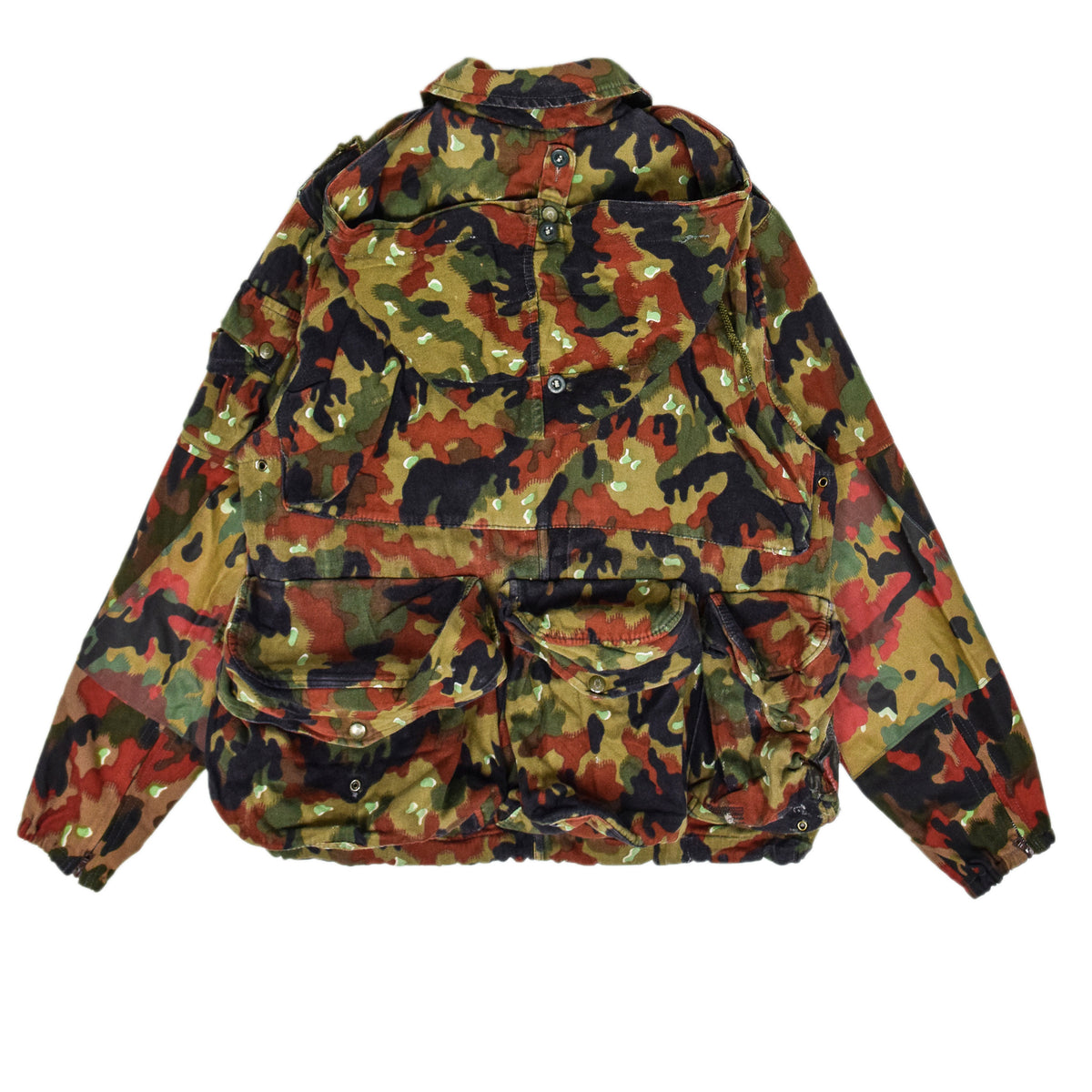 Vintage 70s Swiss Army Alpenflage Camo Sniper Combat Field Jacket M / L back