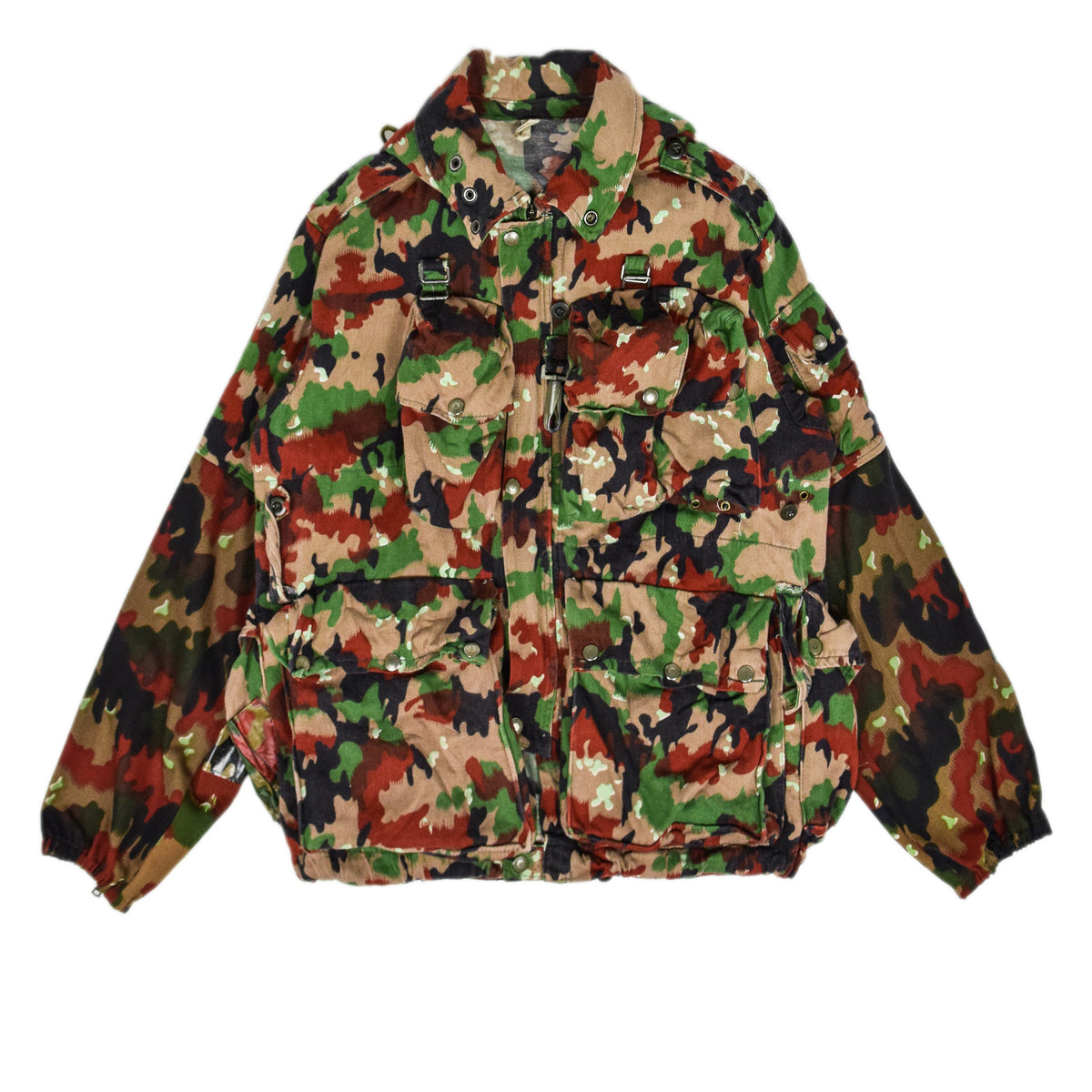 Vintage 70s Swiss Army Alpenflage Camo Sniper Combat Field Jacket M / L front