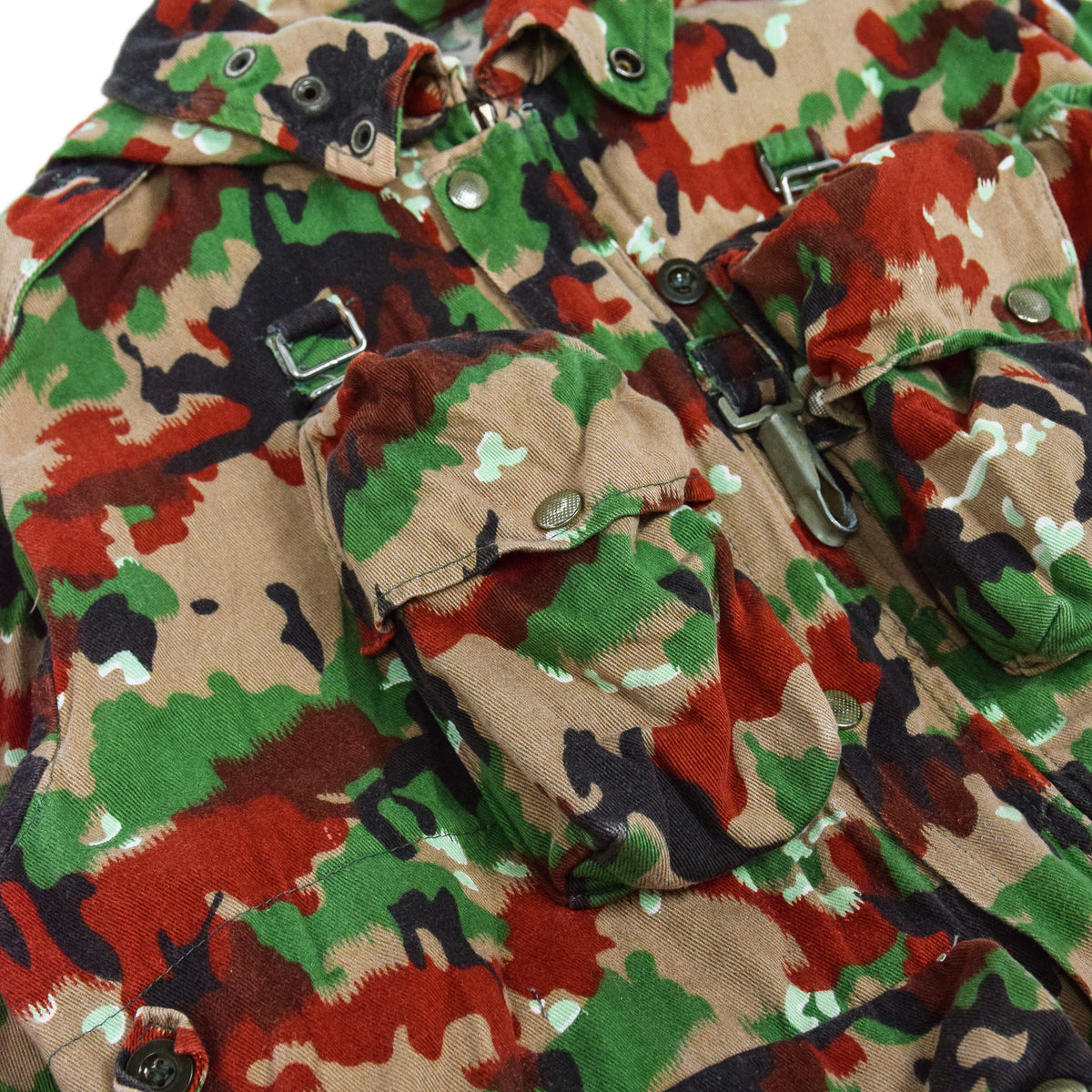 Vintage 70s Swiss Army Alpenflage Camo Sniper Combat Field Jacket M / L pocket 3