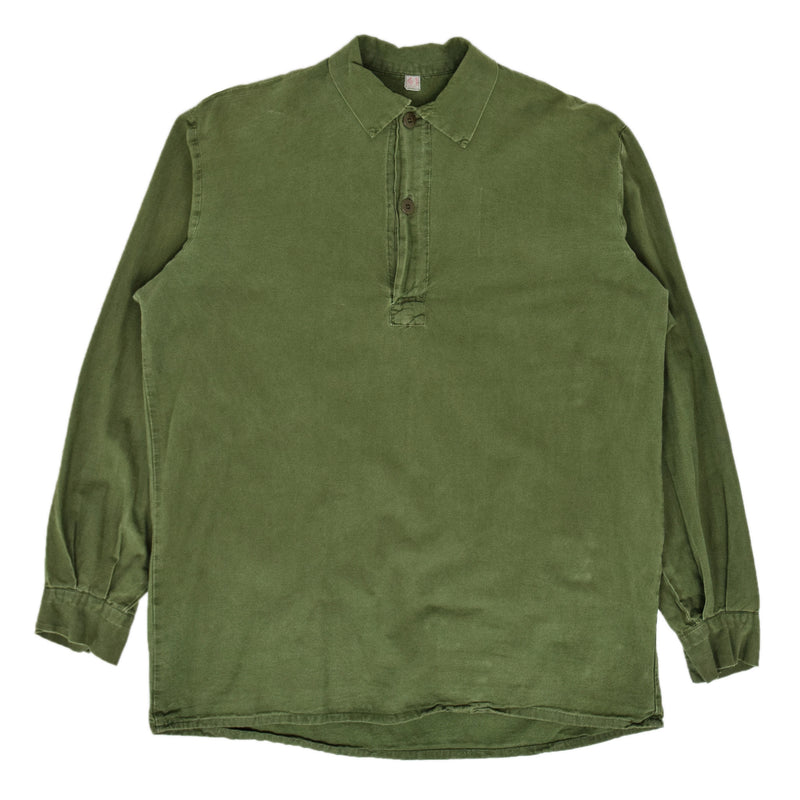 Vintage Swedish Military Overhead Smock Shirt Army Green M front