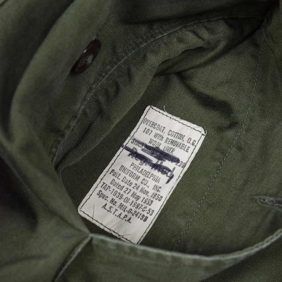 Vintage 50s Korean War US Army Man's Cotton OG 107 Overcoat Long Trench Coat M inside Label