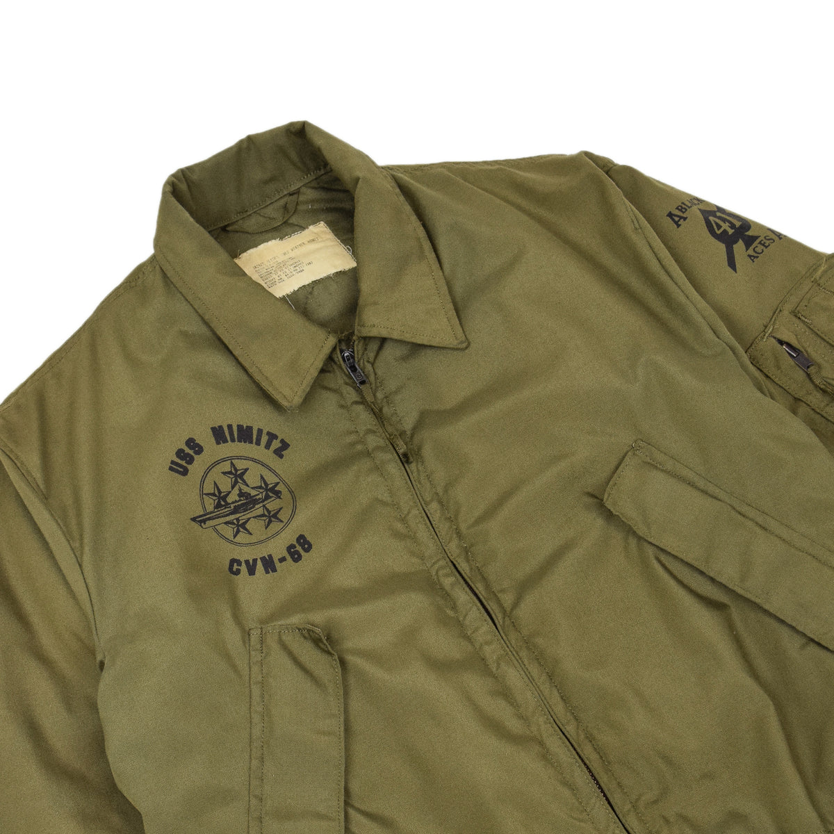 Vintage 70s US Air Force Flyer's Cold Weather USS Nimitz Nomex Bomber Jacket M chest