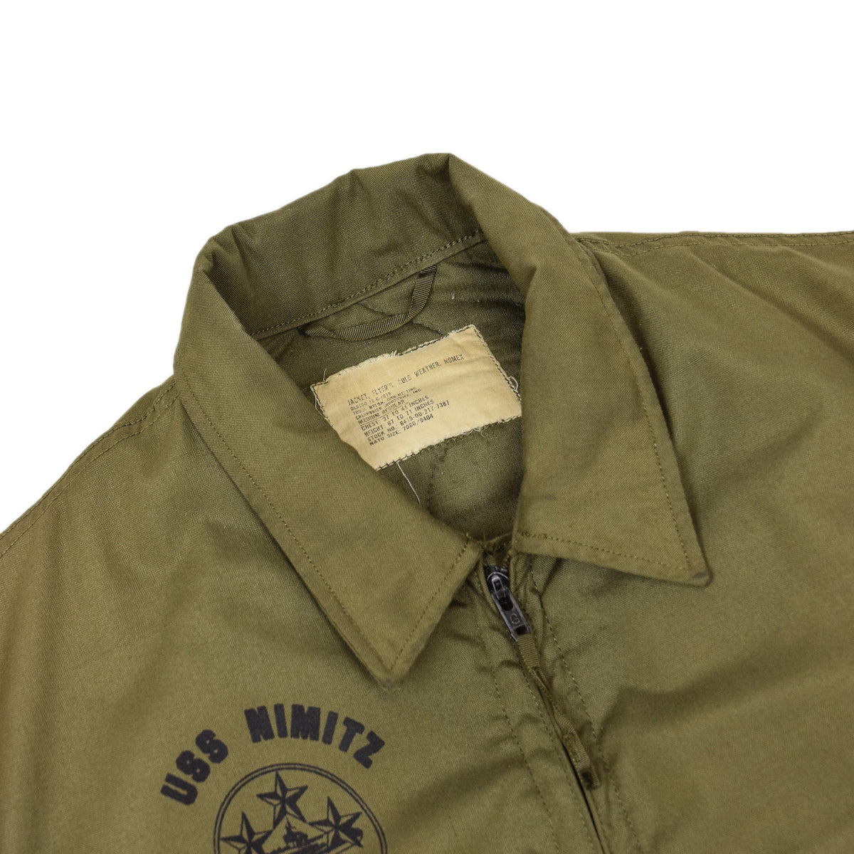 Vintage 70s US Air Force Flyer's Cold Weather USS Nimitz Nomex Bomber Jacket M collar