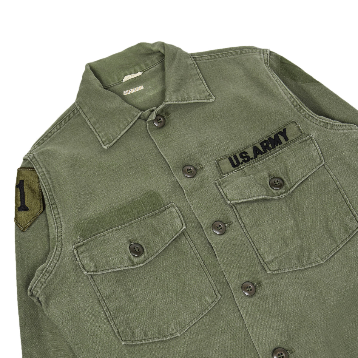 Vintage 70s Vietnam US Army Cotton Sateen Military Shirt OG-107 Olive Green XS chest