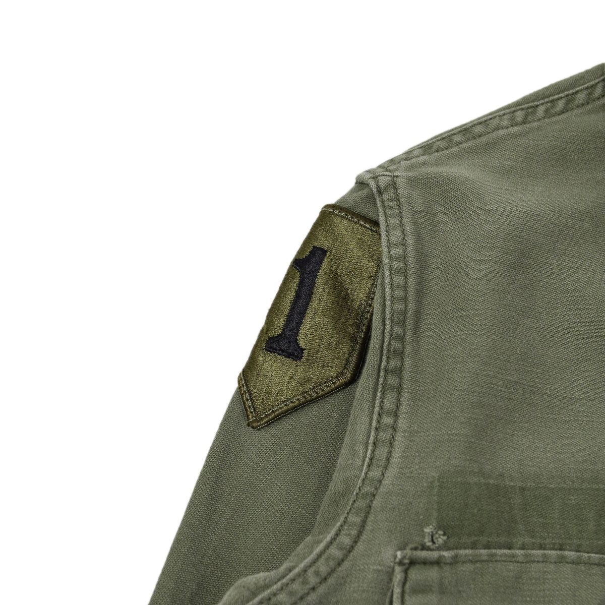 Vintage 70s Vietnam US Army Cotton Sateen Military Shirt OG-107 Olive Green XS arm badge