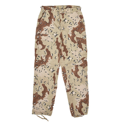 Vintage 90s US Army Choc Chip Desert Camo Cargo Combat Field Trousers S Reg front