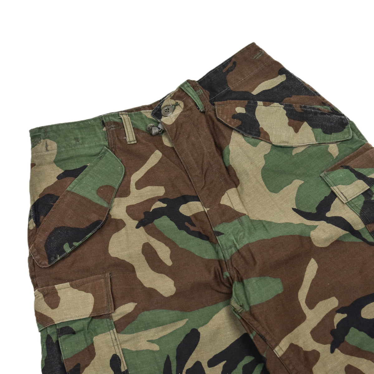 Vintage 80s US Army Camo Cold Weather Cargo Combat Field Trousers S Reg waistband