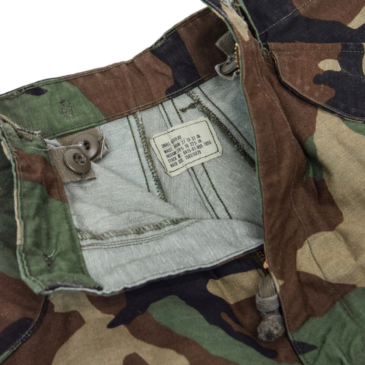 Vintage 80s US Army Camo Cold Weather Cargo Combat Field Trousers S Reg size label