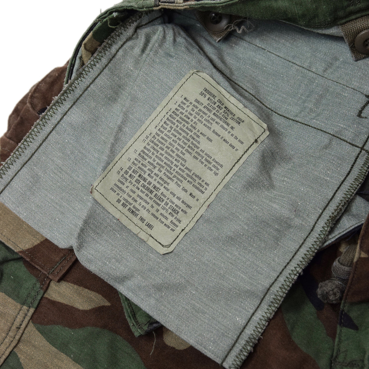 Vintage 80s US Army Camo Cold Weather Cargo Combat Field Trousers S Reg inner label