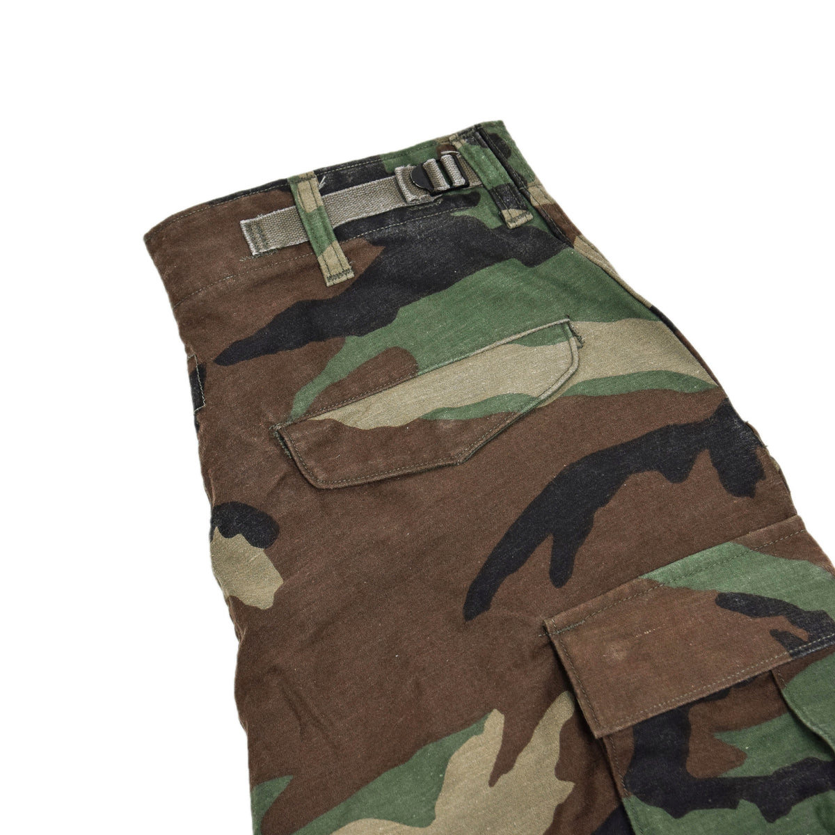 Vintage 80s US Army Camo Cold Weather Cargo Combat Field Trousers S Reg back pocket