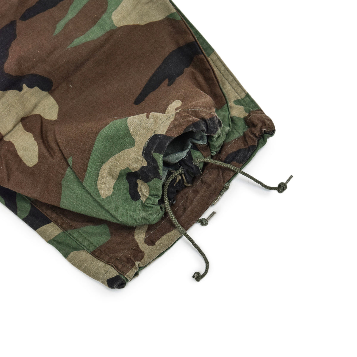 Vintage 80s US Army Camo Cold Weather Cargo Combat Field Trousers S Reg drawstring