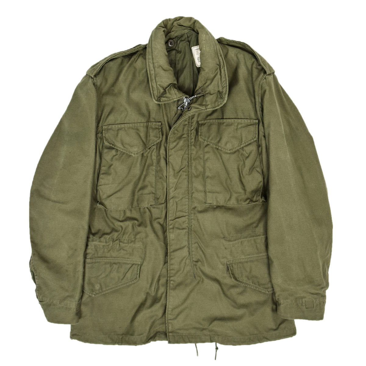 Vintage 70s Alpha Industries Vietnam M-65 Man's Field Military Jacket Green S Short front