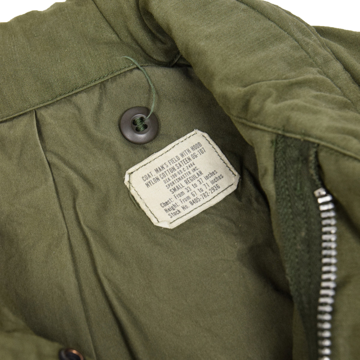 Vintage 60s Vietnam M-65 Man's Field Sateen 0G-107 Green US Army Coat S label