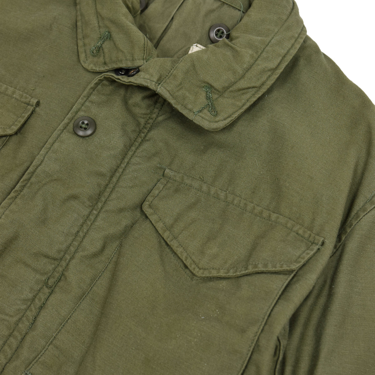 Vintage 60s Vietnam M-65 Man's Field Sateen 0G-107 Green US Army Coat S collar