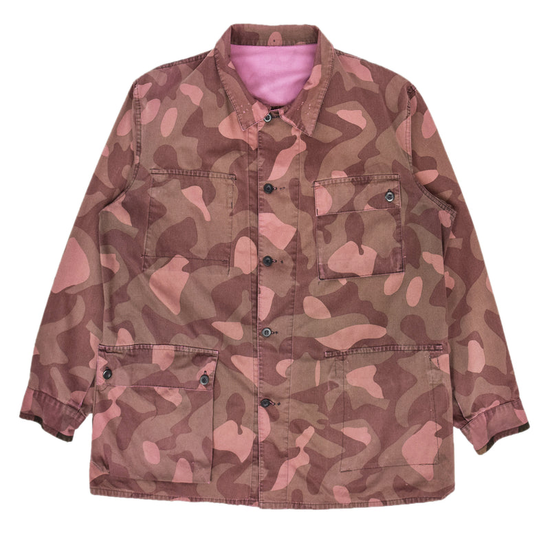 Vintage 80s Military Finnish Army Pink Overdyed Camo Mountain Field Jacket XXL FRONT