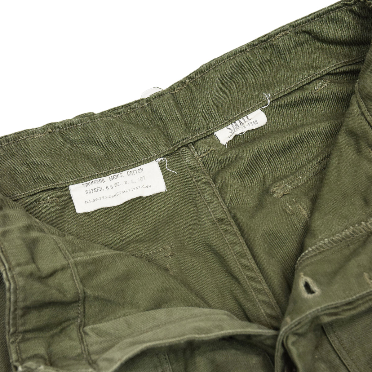 Vintage 60s Vietnam Cotton Sateen Trousers OG-107 Fatigue Pants Small 26 - 28W inner labels