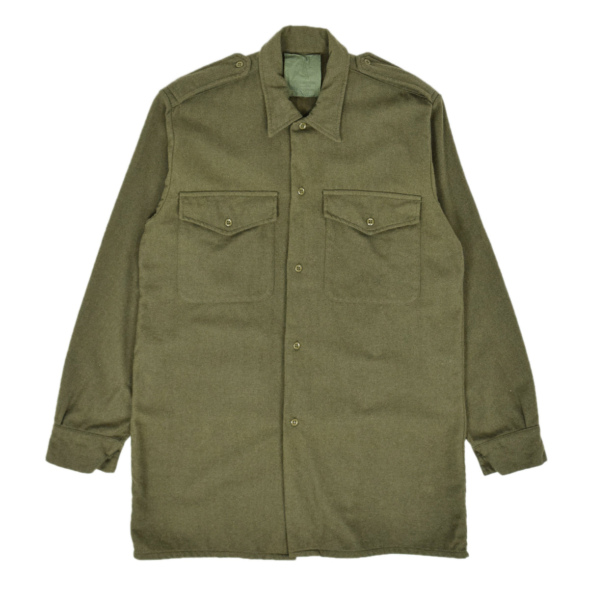 Vintage 80s British Army Mans Combat Wool Shirt Olive Green S FRONT