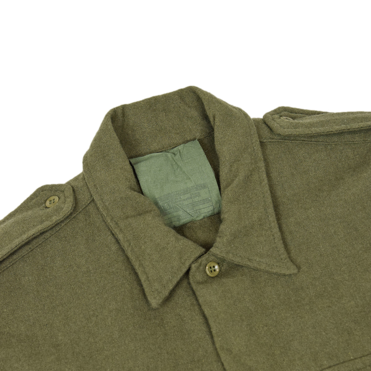 Vintage 80s British Army Mans Combat Wool Shirt Olive Green S COLLAR