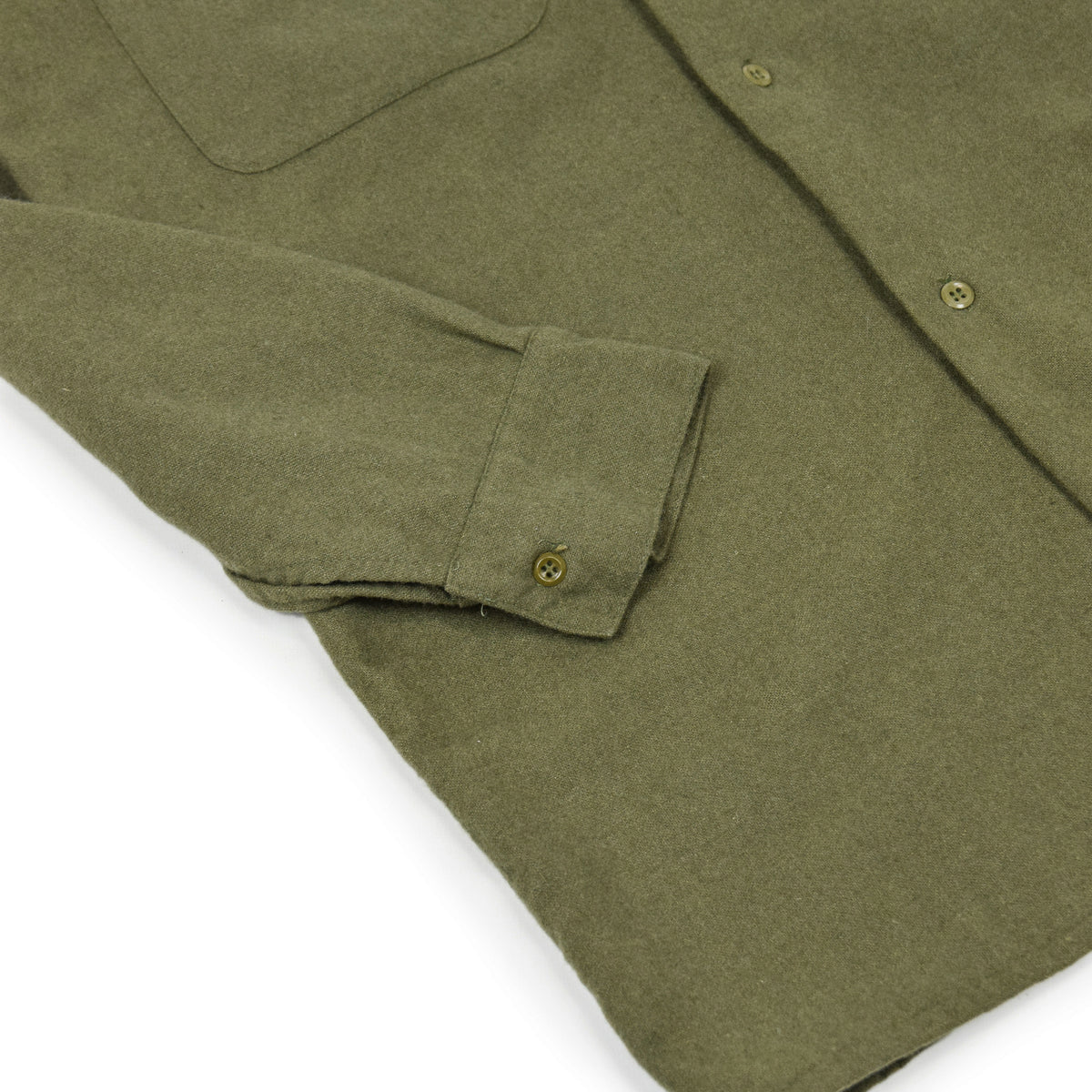 Vintage 80s British Army Mans Combat Wool Shirt Olive Green S CUFF