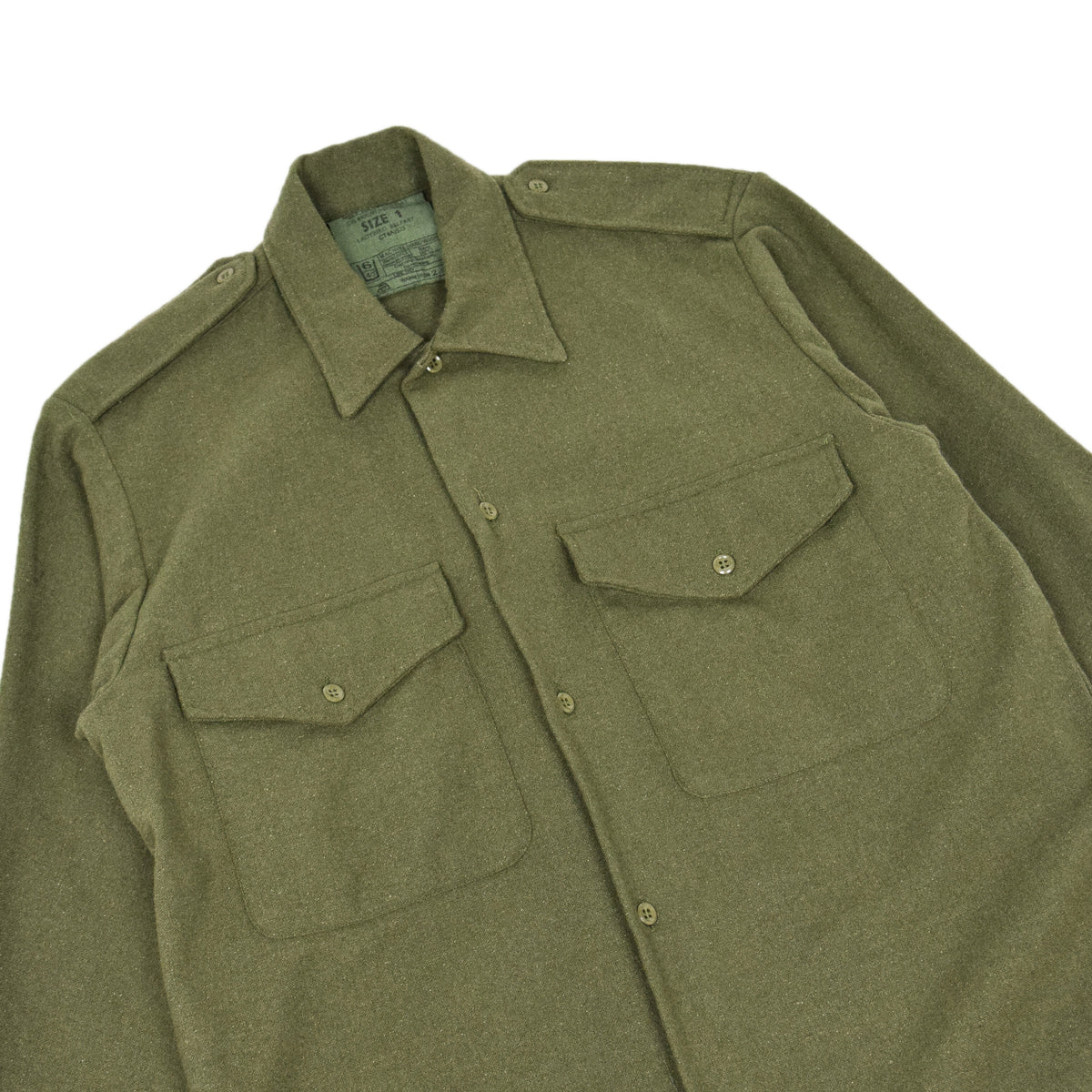 Vintage 80s British Army Mans Combat Wool Shirt Olive Green S CHEST