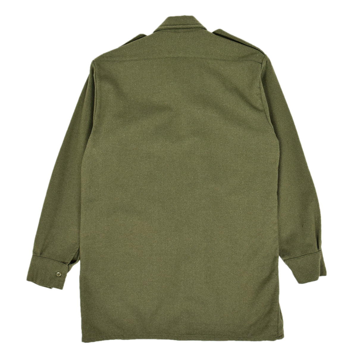 Vintage 80s British Army Mans Combat Wool Shirt Olive Green S BACK