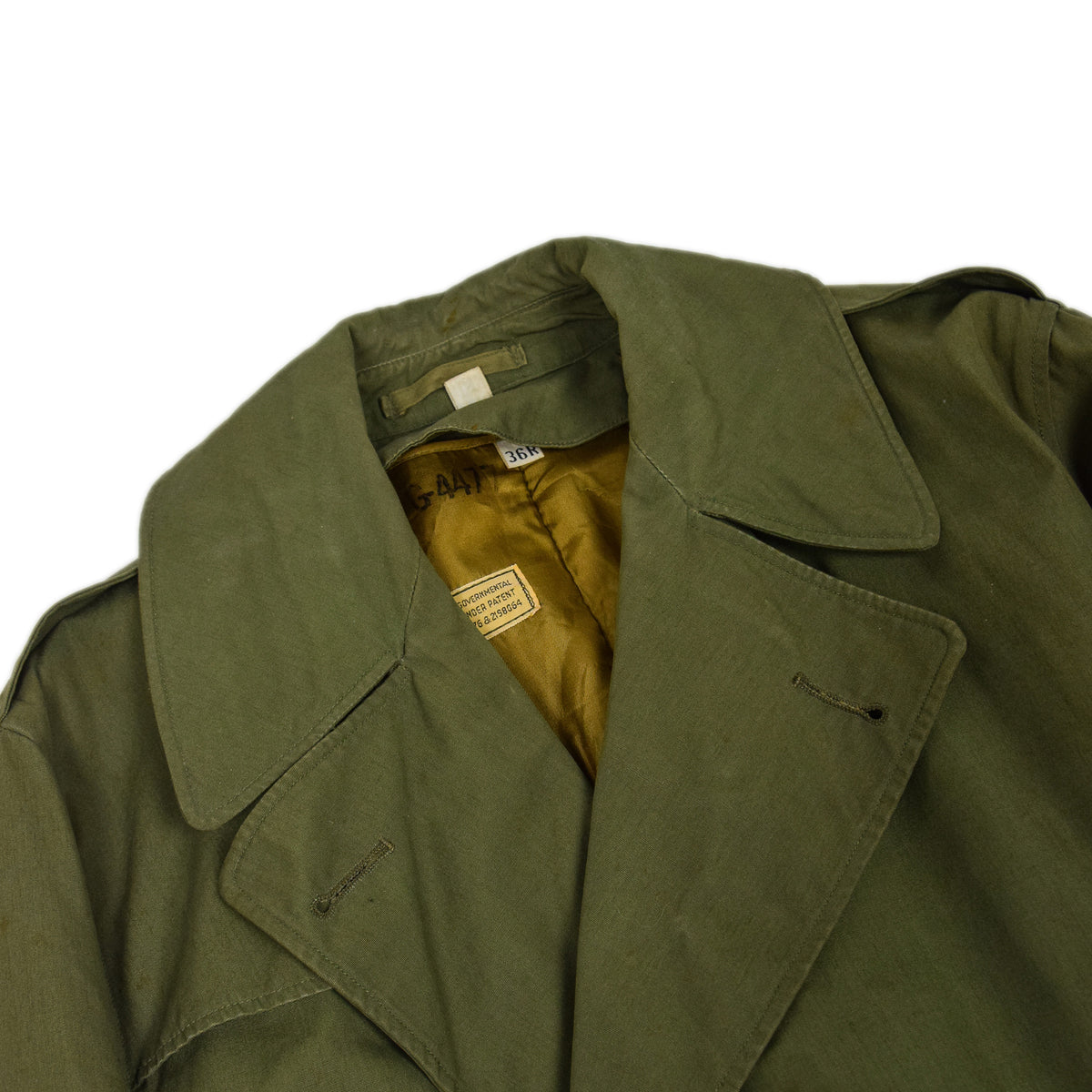 Vintage 40s WWII US Army Officers Field Overcoat Long Trench Coat with Liner M collar