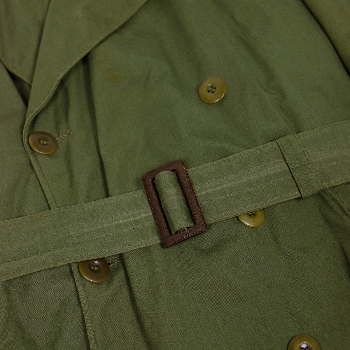 Vintage 40s WWII US Army Officers Field Overcoat Long Trench Coat with Liner M belt