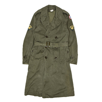 Vintage 50s Vietnam Era US Army OG-107 Long Trench Overcoat S front