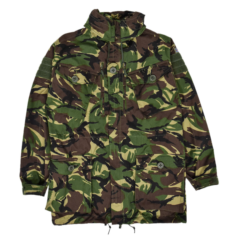 Vintage British Army Combat Smock Windproof Woodland DP Camo Jacket M / L FRONT