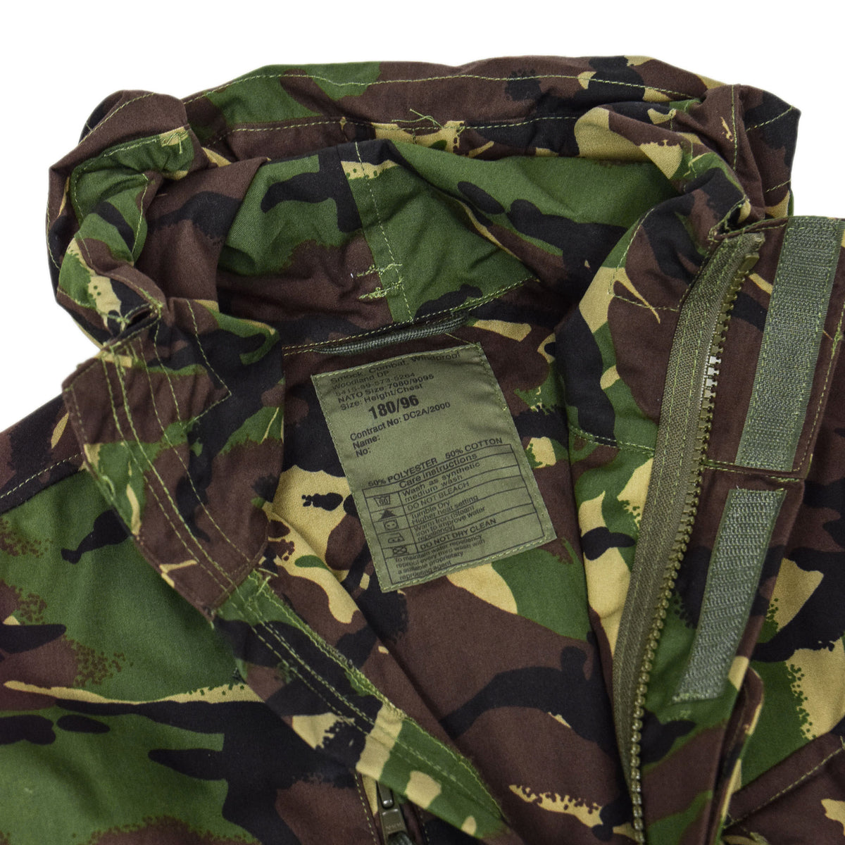 Vintage British Army Combat Smock Windproof Woodland DP Camo Jacket M / L LABEL