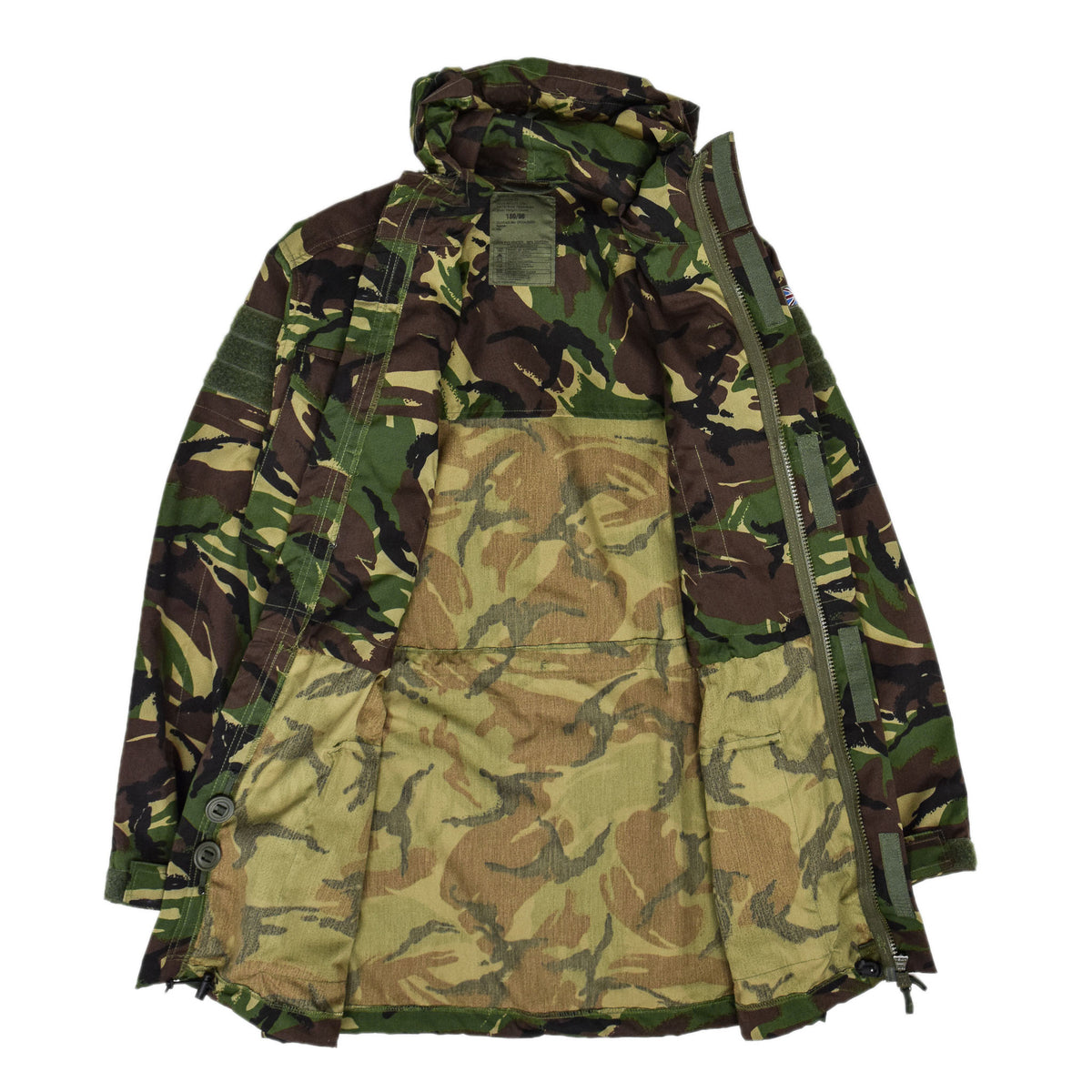 Vintage British Army Combat Smock Windproof Woodland DP Camo Jacket M / L INTERNAL