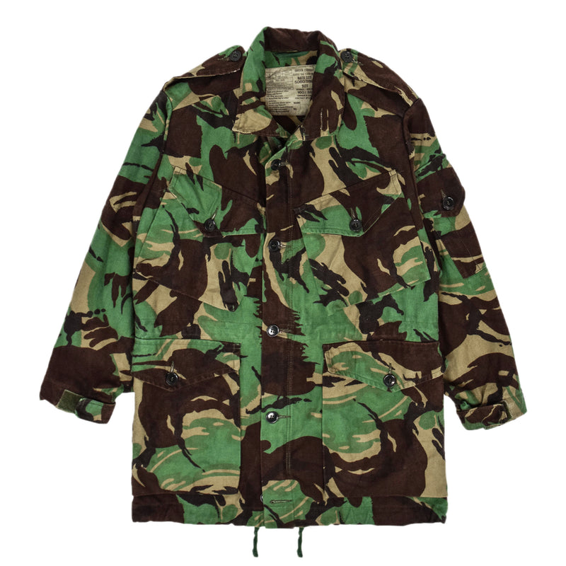 Vintage 80s British Army Combat Smock Woodland DPM Camo Jacket XS front