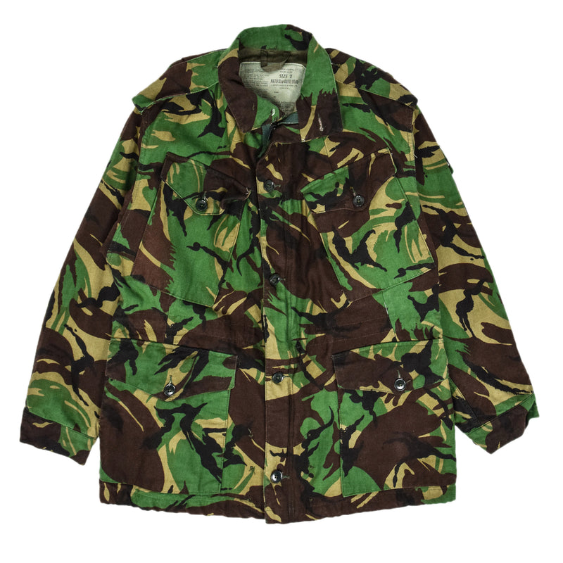 Vintage 80s British Army Combat Smock Woodland DPM Camo Jacket M front
