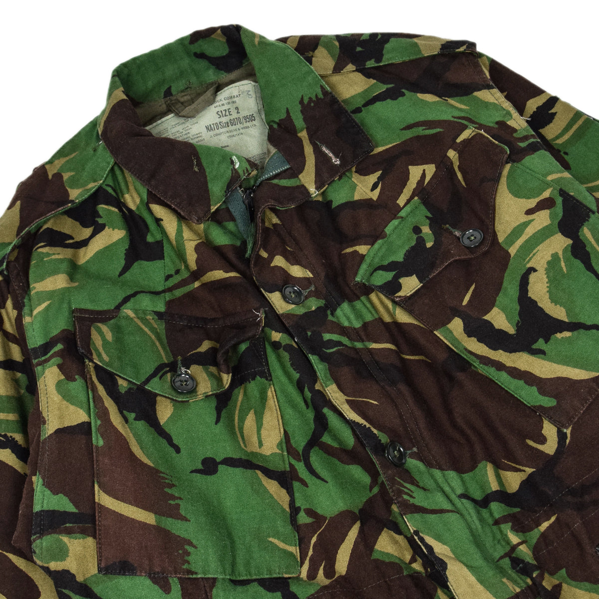 Vintage 80s British Army Combat Smock Woodland DPM Camo Jacket M chest