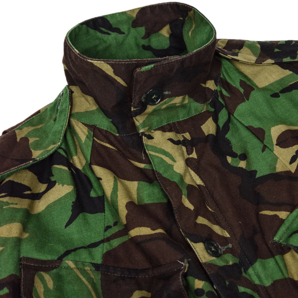 Vintage 80s British Army Combat Smock Woodland DPM Camo Jacket M button up collar