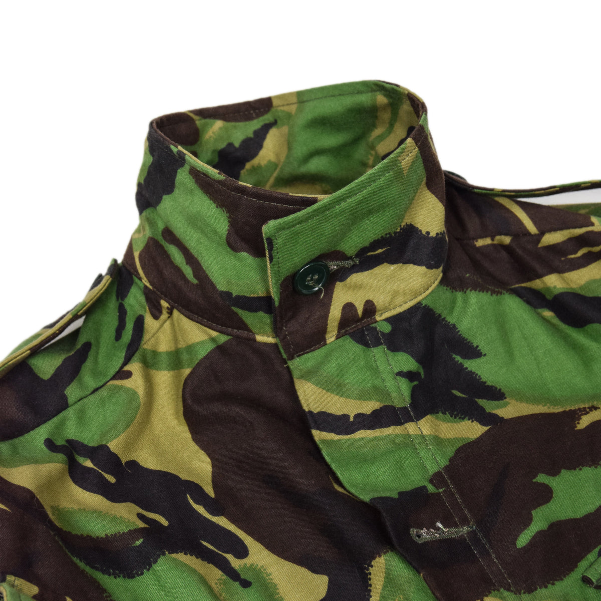 Vintage 90s British Army Combat Smock Woodland DPM Camo Jacket M BUTTON UP COLLAR