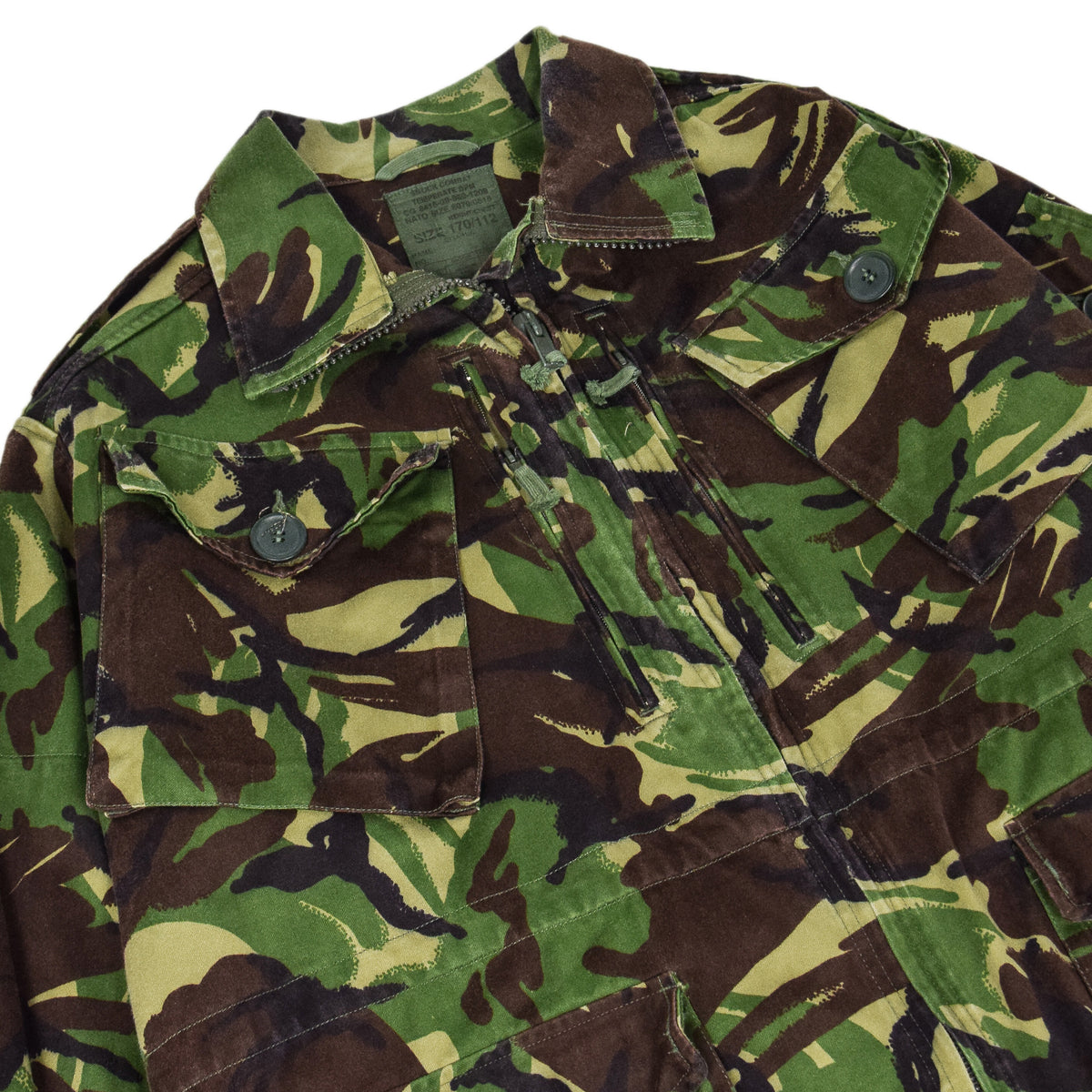 Vintage 90s British Army Combat Smock Temperate Woodland DPM Camo Jacket L chest